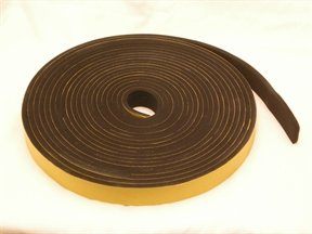 neoprene rubber self adhesive strip 25mm wide x 6mm thick x 10m long