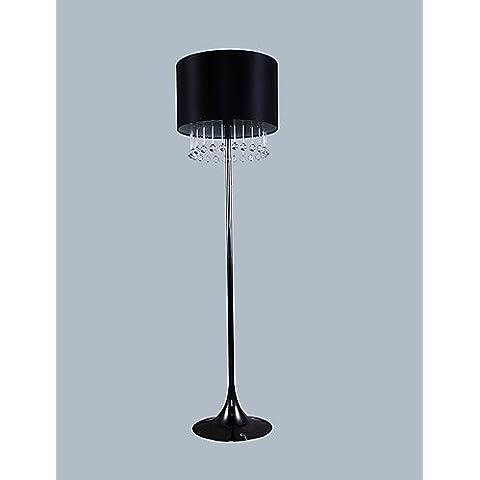 LONG-Moderna lámpara de pie Negro Con Gotas de cristal Decoración , 220-240v