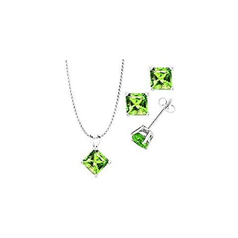 925 Sterling Silver Princess Cut Synthetic Peridot Pendant And Earrings Combo Gift Set-... by FANTOM JEWELRY