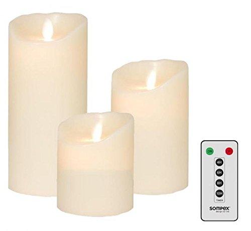 3er Set Sompex Flame LED Echtwachskerzen elfenbein 10/12,5/18cm mit Fernbedienung