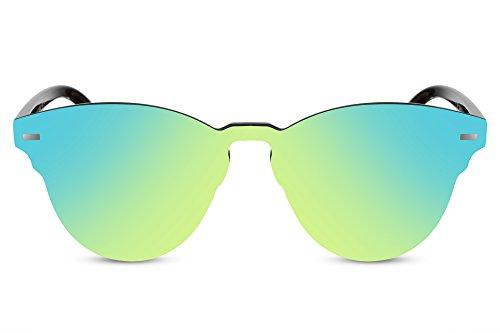Cheapass Sonnenbrille Rund Grün-Gelb Verspiegelt Schwarz Flach Flat-Mirror UV-400 Designer-Brille Damen Herren