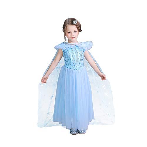 Vicloon Mädchen Kostüm, Kurzarm ELSA Kleid mit Umhang, ELSA Kostüm für Kinder, Kinder Prinzessin Kleid Cosplay Kostüme für Halloween, Weihnachten, Geburtstag, Familientreffen - Größe 130cm