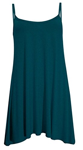 Hanky Cami Swing Sleeve Less Vest Dress ( Teal , UK 20-22 / EU 48-50 ) (Womens Plus)