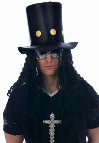 Slash Top Hat and Wig Set for Adults 90s Fancy Dress