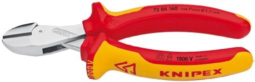 Box-joint Cutters (Knipex Tools 73 06 160 SB X-Cut Compact Box Joint Diagonal Cutter 1000V Insulated Handle, Red/Yellow by KNIPEX Tools)