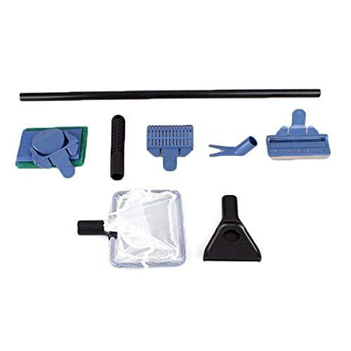 WALL-8-CC 5 in 1 Aquariumreinigungsset, Fischnetz, Schaber, Schwamm, Reinigungswerkzeug für Algen, Aquarium, Kunststoff, Blau, M (Aquarium Sand Süßwasser-blau)