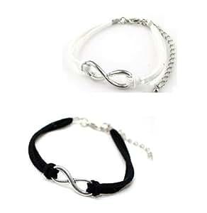 Lot 2 Bracelet Infini Infinity Argenté 1Cordon Noir + 1 Cordon Blanc