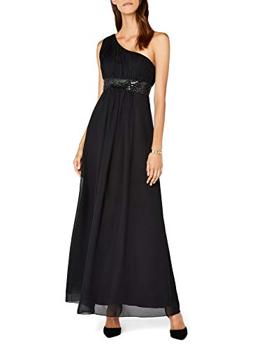 Astrapahl Damen Kleid One Shoulder mit Pailletten, Maxi, Einfarbig, Gr. 40, Schwarz (Für Römische Frauen Toga)