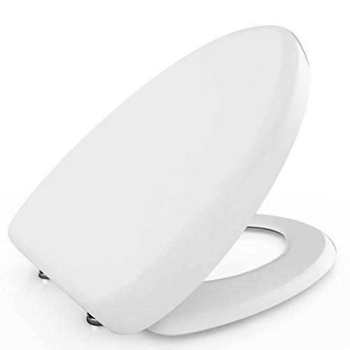 BATHWA WC Deckel Toilettendeckel U/V/O Form Klodeckel Absenkautomatik Soft Close WC-Sitz mit Deckel Klodeckel Verchromte Scharniere Toilettensitz mit Absenkautomatik Antibakteriell weiß (V)