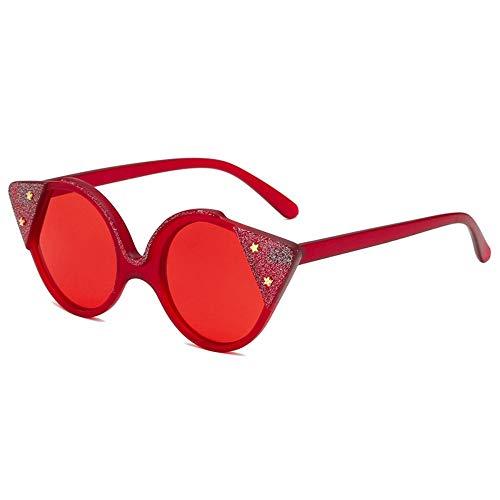 MJDABAOFA Sonnenbrillen,Marke Design Frauen Cat Eye Sonnenbrille Rot Rote Linse Retro Stil Weiblichen Sonnenbrille Schattierungen Mode Brillen Uv400