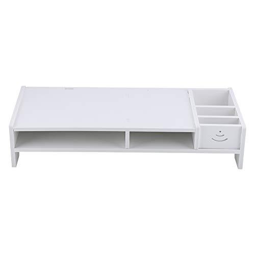 GOTOTOP Weiß Stilvoll Monitorständer, Computer-Monitor-Riser Desktop-Riser aus Holz-Kunststoff-Verbundwerkstoff, 48,1 x 20 x 10 cm