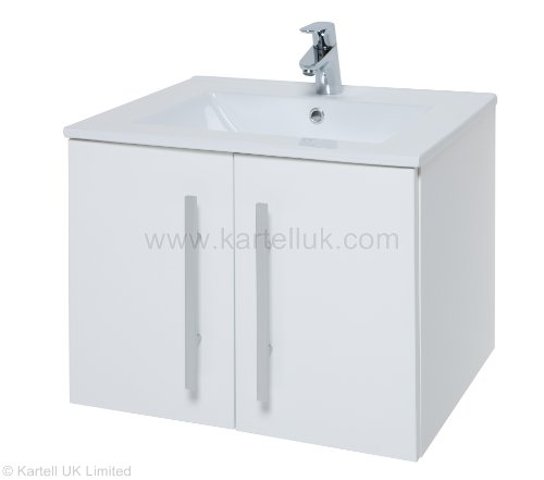 Designer Vanity Basin Unit. Purity 600MM Wall Hung 2 Door High Gloss White Cabinet and Purity 600mm Ceramic Basin.