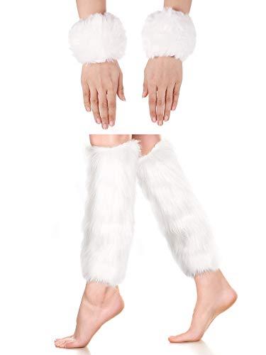SATINIOR 2 Paar Kunstpelz Manschetten Pelzigen Langes Bein Warmer Handgelenk Manschette Warmer Stiefel Manschette (Weiß)