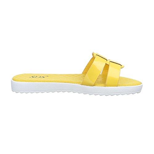 Ital-Design Damen Schuhe, 1345-PT, Sandalen Leichte Gelb