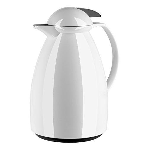 Emsa 660107100 Isolierkanne, Für Kaffee oder Tee, 1 Liter, Quick Tip Verschluss, Weiß/Schwarz, Tango