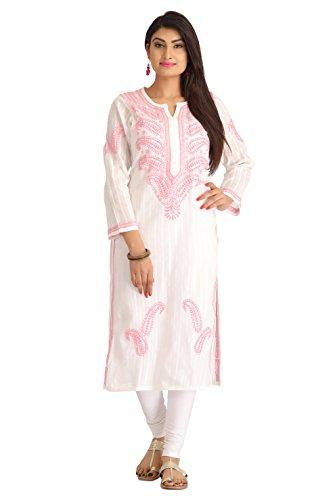 ADA Hand Embroidery Chikankari Ethnic Cotton Kurti for Women Casual Wear A133864...