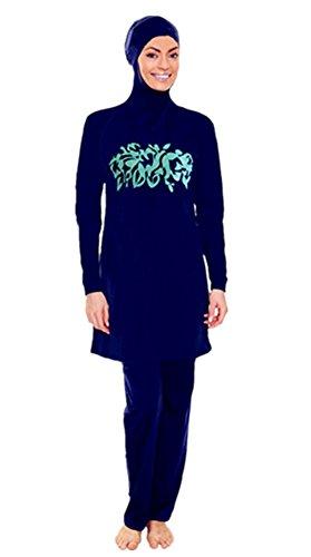 Muslimischen Damen Badeanzug Muslim Islamischen Full Cover Bescheidene Badebekleidung Modest Muslim Swimwear Beachwear Burkini (Asien 4XL ~~ EU-Größe 46 - 48, Hijab connected-3)