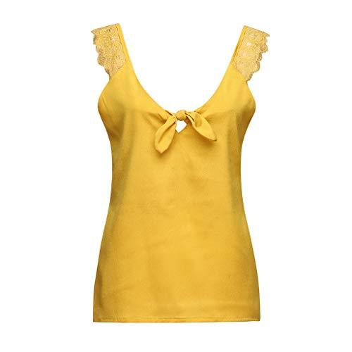 JMETRIC Bow Weste Camisole Lässiges Tops Weste Oben,Volltonfarbe Vest Schultergurt aus Spitze Ärmelloses Oberteil Weste(Gelb,L)