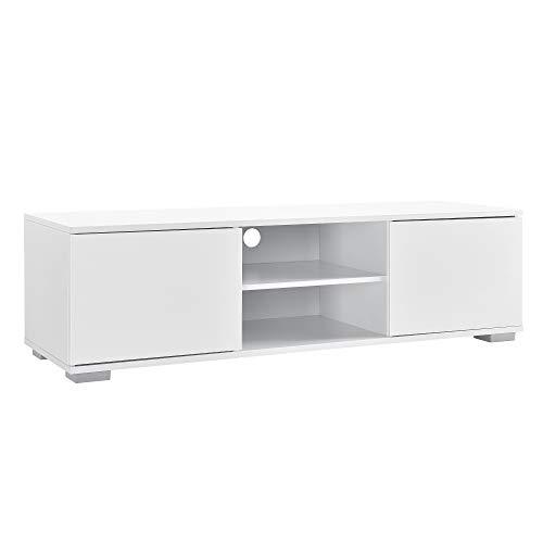 [en.casa] Meuble TV avec Compartiments et Portes Buffets Bas téléviseur Armoire Bas 34,5cm x 120cm x 40cm MDF Blanc