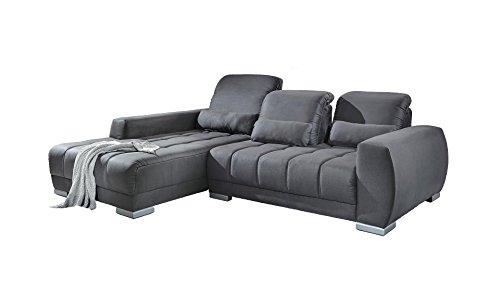 Ecksofa grau Stoff Kunstleder Couch Eckgarnitur Polsterecke günstig