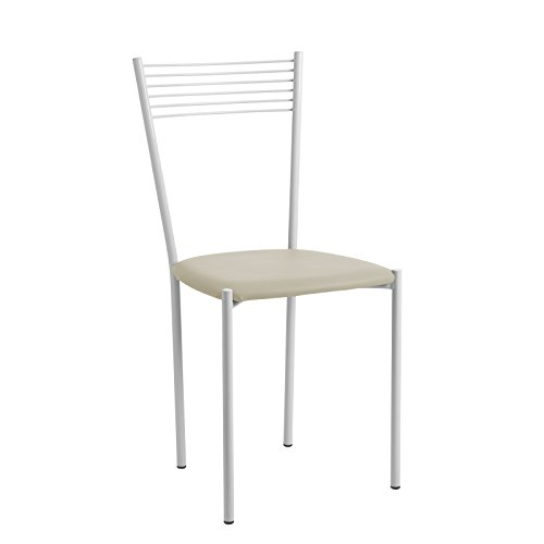CAB Sonia Ensemble Complet de 4 chaises Meubles Fer Verni Blanc avec Assise en Cuir synthétique 8 Couleurs Disponibles