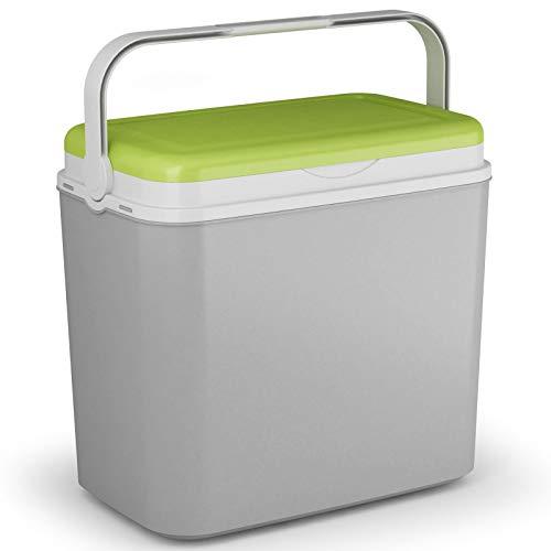 Kühlbox Kühltasche Kühlbehälter mit Deckel für Getränke Flaschen Speisen groß 36 Liter grau grün Camping Auto LKW Sport Garten Reise Strand Picknik Caravan Wandern robust passiv Kühlboxen Styropor -