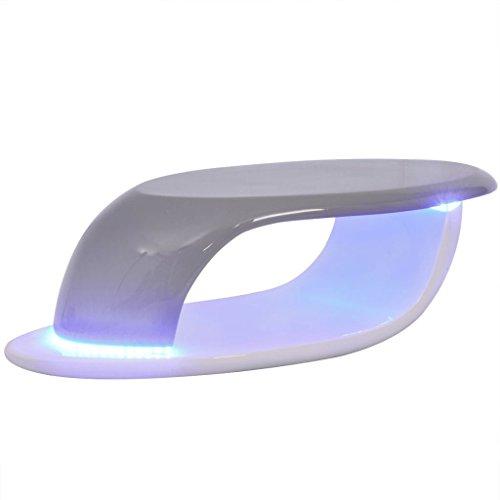 Festnight Table Basse avec LED Brillant Table Basse de Salon Blanc et Gris de Style Contemporain 99 x 46 x 29,5 cm
