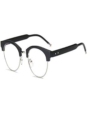 Deylaying Luz azul Filtrar Computadora Gafas Semi sin montura Vintage Lente clara Lector Hombres/Mujer Anti-fatiga