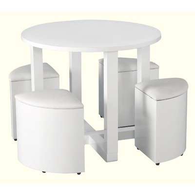 Boston Stowaway 4 Stool Dining Set Colour: White Gloss