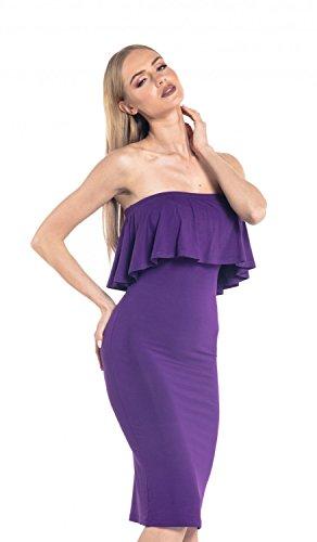 Glamour Empire. Femme Robe Stretch Sans Bretelles Avant Évasée Col de Bandeau.571 Pourpre