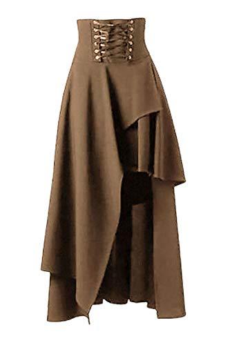 La Mujer De Maxi Falda Lolita Gothic Victorian Steampunk Faldas Khaki M