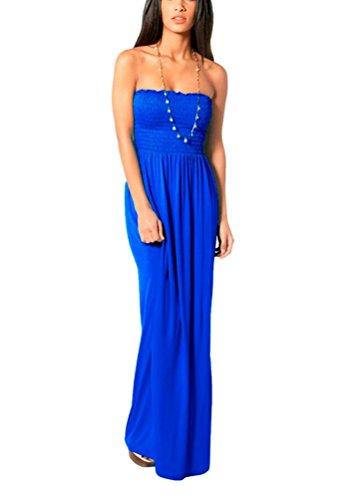 Womens Plus Size Sheering Boobtube Bandeau Long Jersey Strapless Maxi Dress 8 26 Königsblau
