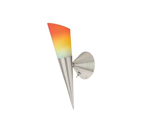 Khl LED Wandfackel Fackelleuchte Melchior Fackel Schalter 35cm nickel matt / Glas Farbverlauf 4W LED 2700k warmweiß