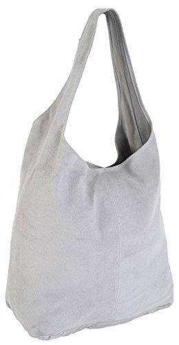 echt italienisches Wildleder sehr groß Lässig Hobo Schultertasche Handtasche DV2 Grau