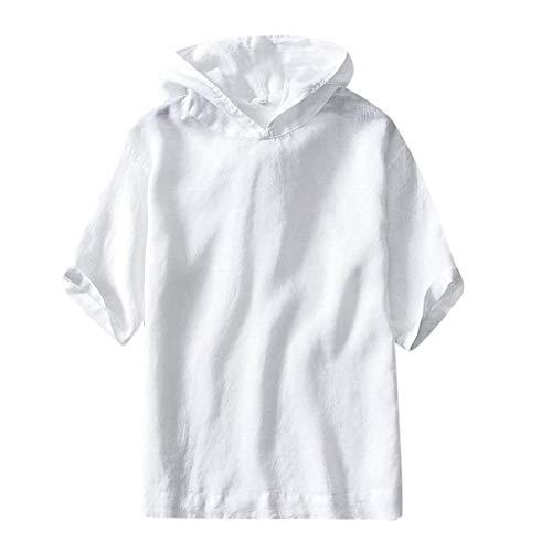 NPRADLA männer Pullover Sweatshirt Sommer Lässige Baumwolle-Leinen Feste Kurzarm Retro Gym Laufen Training Mit Kapuze T Shirts Mann Tops