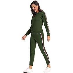 MYSHOW Femme Rainbow Stripe Jogging Suit Deux Pièces Survêtement Sport Suit Vert L