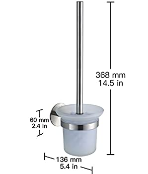 Wangel Wc-bürste Und Halter Wc-bürstengarnitur Ohne Bohren, Patentierter Kleber + Selbstklebender 3m-kleber, Edelstahl Und Glas, Gebürstetes Finish 4