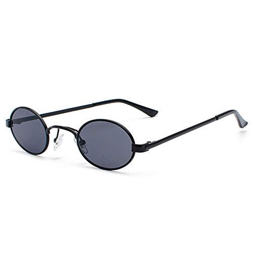 MJDABAOFA Sonnenbrillen,Klassische Marke Design Jahrgang Ovale Sonnenbrille Schwarz Gestell Schwarz Objektiv Retro Frauen Männer Metall Sonnenbrille Schattierungen Brillen Uv400