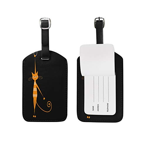 Luggage Tag Funny Orange Cat Animal Black Travel Tag Name Card Holder for Baggage Suitcase Bag 1 Piece -