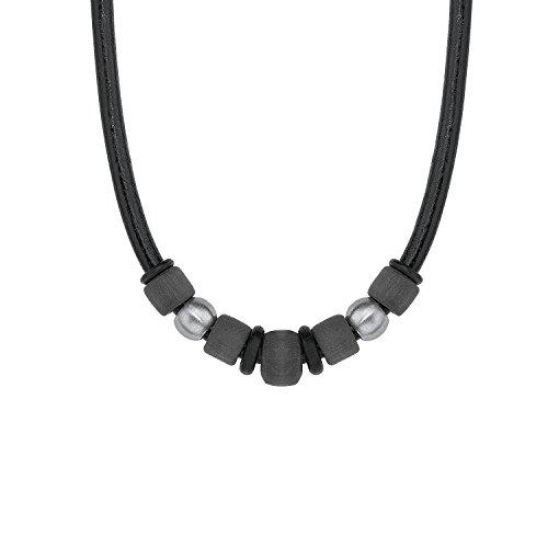 S.Oliver Kinder Kette Jungen Edelstahl mattiert Carbon Leder 40+3 cm schwarz