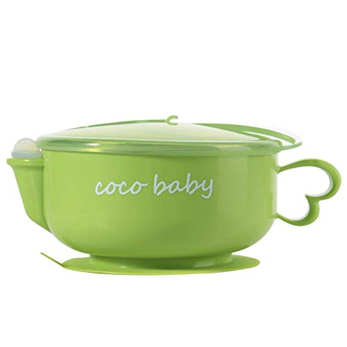 TEN-G Onewell Toddler Bowls with Suction Spoon and Lid Detachable Double-Wall Stainless Steel Baby Bowl Keep Food Warm and Cool (Green)