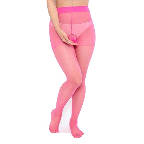 VENMO Herren Footless Strumpfhose Nylon Strumpfhose Mantel Open Bodysuit Nahtlose Strumpfhose Zehenfrei Stütz Halterlose Strümpfe Vintage Ausdehnungs Strumpfhosen Pantyhose Ultradünne (Hot Pink) (Microfaser Pink Strumpfhose)