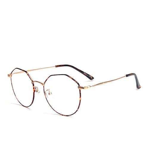 Preisvergleich Produktbild Brille Retro mit Fensterglas - Damen Herren Brillenfassung Metall Frame Transparente Linsen Brille für Lesen/Arbeiten/Unterhaltung