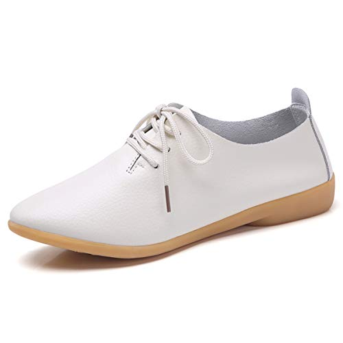Decai Damen Leder Loafers Mokassins Bootsschuhe Oxford Schnürschuhe Flache Klassische Runde Zehe Leder Ballett Flache Müßiggänger Halbschuhe Schuhe für Frauen Weiß 40 EU