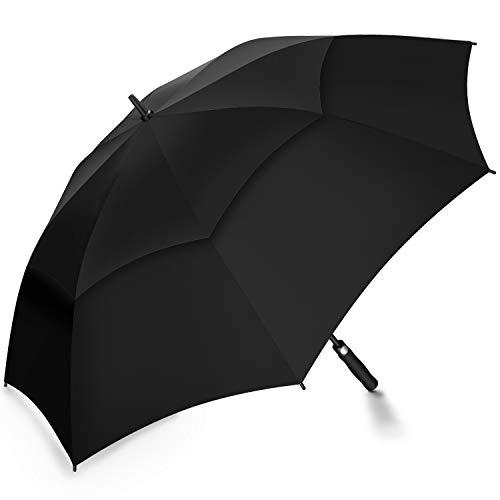 Automatik Golf Regenschirm - 158 cm / 62 Zoll Groß Stockschirm GolfSchirme für Herren männer Familiengebrauch Robust Sturm geschützt durch Doppelkappe mit Windöffnung - Schwarz