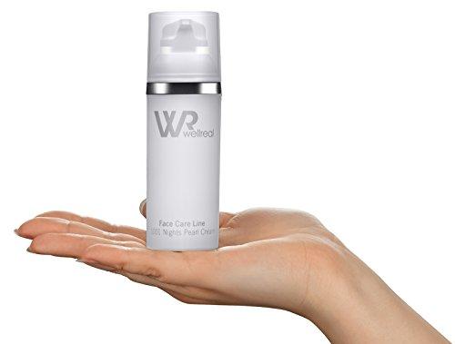 WELLREAL - 24-Stunden Creme, die die Haut festigt, strafft, die Elastizität verbessert, auch beruhigt und hat eine Anti-Aging-Wirkung - fördert die Regeneration der Hautzellen, hat beruhigende und entzündungshemmende Eigenschaften, verbessert den Hautton - tägliche Anwendung, für jeden Hauttyp ab 30 Jahre und älter - leichte Creme mit Perlen-Extrakt und Amethyst-Pulver sowie Dexpanthenol - 1001 Nights Pearl Cream - 50ml - Face Care Line
