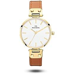 Mockberg Nora A1003 Women's Analogue Wristwatch Quartz Leather Stainless Steel Gold