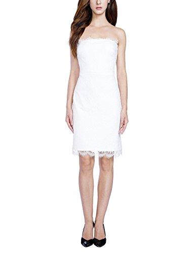 Balleay Donna Partito Vestito Pizzo Superiore del Tubo Mini Abito da Sera Vestito su Ordinazione BA6802 (S, Bianco)