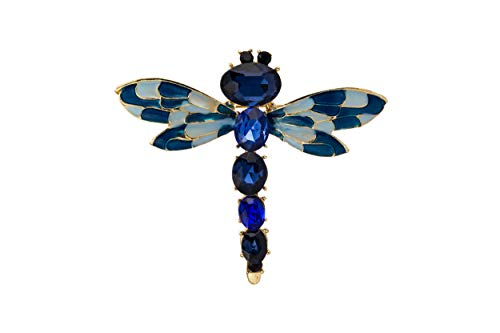Knighthood Black Eye with Royal Blue Stone Metal Dragonfly Brooch for Men and Women