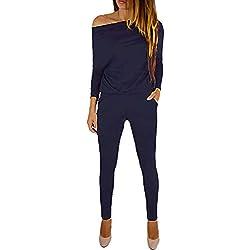 YOINS Sexy Été Casual Chic Salopette à Fines Bretelles Combinaison Longue sans Manches Pantalon Lâche de Femme,Épaule-bleu Foncé,XL